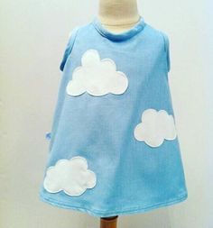 Fluffy white clouds appliquéd on to pale blue corduroy pinafore dress with wooden button fastening at back. Corduroy Pinafore Dress, White Clouds, Tie Dye, My Etsy Shop, Girls Dresses, Check, Blue, Stuff To Buy, Shopping