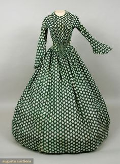 LEAF PRINTED COTTON DRESS, 1845-1850