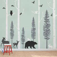 Life like animals and trees for a woodland nursery. Birch Tree Wall Decal with Animals, Baby Nursery Wall Stickers, Forest Pine Trees and Birch Trees Wall Decal, Deer and Bear Decals 1140 Birch Tree Wall Decal, Tree Decals, Birch Tree Mural, Vinyl Decals, Animal Wall Decals, Nursery Wall Stickers, Wall Stickers Tree, Nursery Tree Mural, Playroom Mural