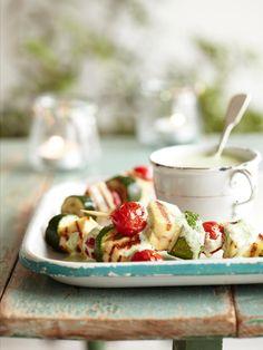 Zucchini, cherry tomato and halloumi skewers