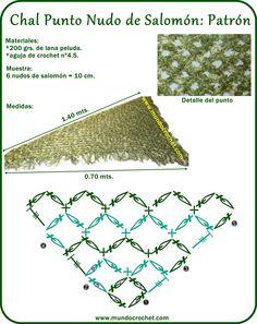Chal triangular a Crochet en Punto Nudo de Salomón - Mundo Crochet
