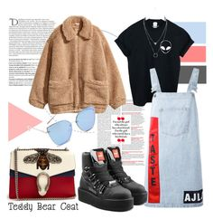 """""""Teddy Bear"""" by karolinapl ❤ liked on Polyvore featuring Balmain, WithChic, Au Jour Le Jour, Quay, Gucci and Puma"""