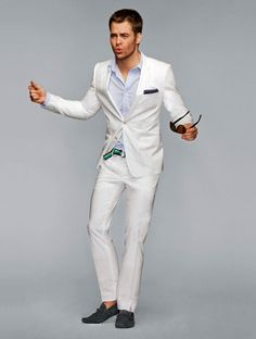 destination wedding...slim white linen suit