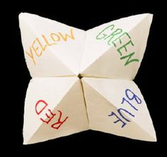 Origami Fortune Teller. I bet a cool therapy activity could be adapted to this for adolescents