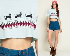 Crop Top DEER Shirt Native American Tshirt Aztec Animal T Shirt 90s Southwestern 1990s Southwest Cropped Vintage Boho Baby Blue Small Medium