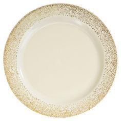 01047 10.25 Inch Ivory Gold Mist Plastic Dinner Plates