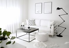 Interior Enthusiast -Monochromatic style by Johanna Valkeala Fancy Living Rooms, Modern White Living Room, Small Space Living Room, Living Room Grey, Living Room Interior, Home Living Room, Living Room Decor, Studio Apartment Decorating, Home Decor Store