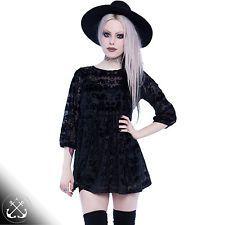 Iron Fist Bat Royalty Black Dress,Velour Print Bats,Halloween,Goth,Gothic,Witch