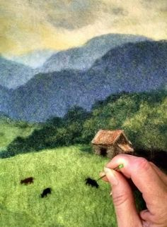 When it is completely dry, I then use needle felting to add more details to the landscape Needle Felting Kits, Needle Felting Tutorials, Needle Felted Animals, Felt Animals, Wet Felting Projects, Wool Felting, Felt Projects, Sleeping Fox, Felt Pictures