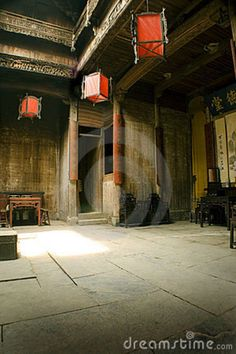 Traditional Chinese Interiors   Interior Chinese Architecture, Red Lanterns Royalty Free Stock Image ...