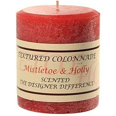 Textured 3x3 Mistletoe and Holly Pillar Candle For WeddingDinner Holiday Event Home Decoration 30 to 40 hours 3 in diameterx325 in tall 6 Pieces *** You can get more details by clicking on the image. #PillarCandle