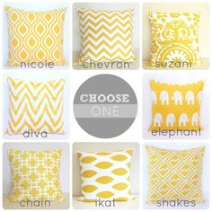 ONE Yellow Decorative Pillow Cover. 20x20 Cushion Cover. You Choose. Ikat. Chain Link. Suzani Chevron. on Etsy, $18.00