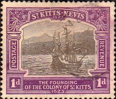 1921 St Kitts - Nevis King George V Founding of the Colony SG 49 Fine Used SG 49 Scott 53 Other Old Stamps for sale here