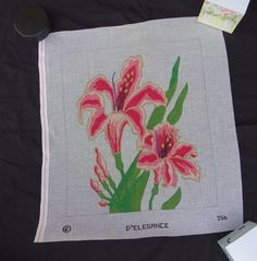 Lily Needlepoint Canvas D'Egelance Pink  FREE Shipping USA