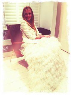 Cat Deeley wearing ostrich feather overskirt!