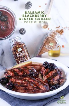 Sweet and spicy, this Balsamic Blackberry Glaze gives grilled pork chops an easy summer update. | via Simply Organic
