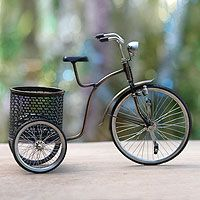 Iron sculpture, 'Colonial Basket Bicycle' from @NOVICA, They help #artisans succeed worldwide. By Andri Martias