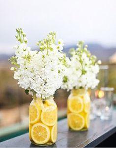 Lemon Mason Jar Vases