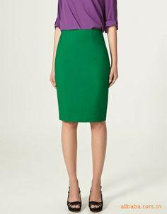 Green High Waist A-Line Skirt