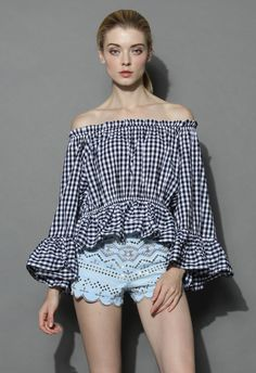 Chic Check Ruffled Off-shoulder Top - Retro, Indie and Unique Fashion