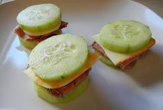 """Shelly's Roast Beef & Cheese Cucumber """"Sandwiches"""" Cucumber sandwiches. Who needs bread or crackers? - Great for a gluten free and low carb snack!"""