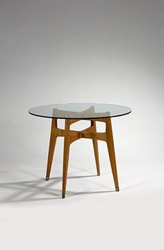 Gio Ponti; Beech, Brass and Glass Occasional Table, 1950s.