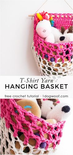 Make a fabric yarn or t-shirt yarn hanging basket with this free crochet pattern from 1dogwoof.com
