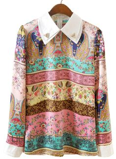 Blue Pink Long Sleeve Striped Floral Blouse