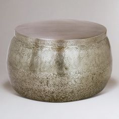 Cala Hammered Coffee Table crafted of hammered steel with antiqued nickel finish