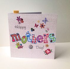 Mother's Day Greeting Card,Printed Applique Design,HandFinished Mothers Day Card £1.95