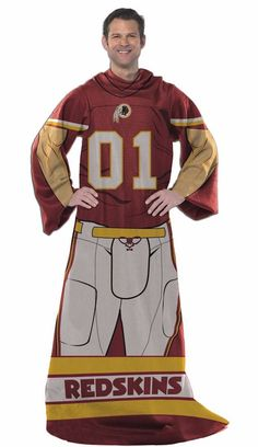 Officially Licensed Redskins Players Comfy Throw Blanket with Sleeves
