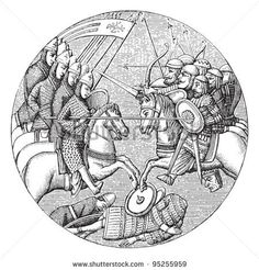 Battle of Ascalon (1099) / illustration from Meyers Konversations-Lexikon 1897