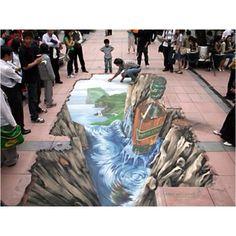 3-D chalk art