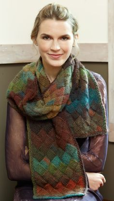 Entrelac is a lot more fun with a self striping yarn! Knit in Lion Brand's Amazing yarn.