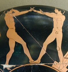 Boxing scene Louvre G384. Boxing scene: athletes in guard position. Detail from an Attic red-figure cup, ca. 470 BC. Found in Vulci.