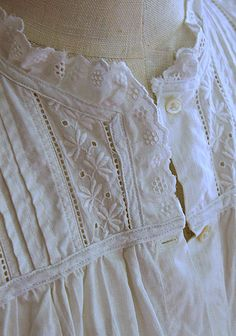 Antique Womens Nightgown, Victorian White Cotton, Embroidered button front and eyelet trims