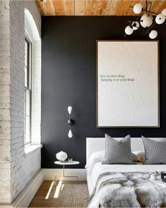 Find stylish examples of black accent walls perfect for a wall in your home that is tough to style. Domino shares photos of black accent walls to try in your home. Black Accent Walls, Black Walls, White Walls, Black Painted Walls, Black Brick, Faux Brick, Black Accents, Purple Accents, Black Stripes
