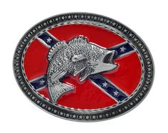 Bass Fishing Rebel Flag Belt Buckle Fish Confederate Oval Unique Metal New Cool, *click on picture to purchase!*