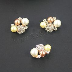 Hair Clip Cabochon Finding, Zinc Alloy, with ABS Plastic Pearl, Flower, rose…