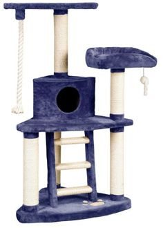 $169.28-$245.95 Whisker World Tri-Level Jungle Gym Cat Furniture, Blue Plush - The Whisker World Tri-Level Jungle Gym Cat Furniture is the ultimate for entertaining your cat or cats. A carpeted ladder from the bottom level takes your cat to a padded landing with a cubbyhole for curling within. This leads to a tractor seat and another elevated perch which looks down over the entire unit. http://www.amazon.com/dp/B000F4OX1S/?tag=pin2pet-20