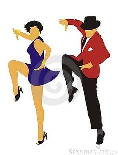 Man and woman dancing Charleston