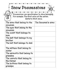 Snow themed possessives worksheet
