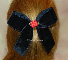"""Black Velvet Hair Bow with Red Satin Rosette & Tails - 5.5"""" - Great Holiday Special Occasion Hair Bow - Wedding or Christmas Velvet Hair Bow..."""