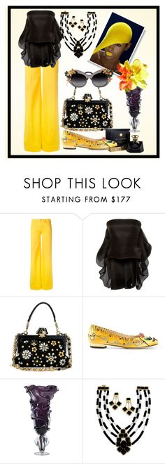 """Black and yellow is a trivial but nice combination"" by m-kints ❤ liked on Polyvore featuring Love Moschino, Brandon Maxwell, Dolce&Gabbana, A-Morir by Kerin Rose, Charlotte Olympia and denim"