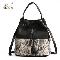 Qiwang 100% LUXURY Genuine Leather Women Bucket Bag Cowhide Genuine Leather Handbags High Quality Snake Pattern Casual Bag