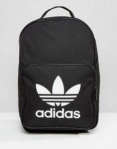 91ed196b6 Mochila negra con logo del trifolio de adidas Originals Mochilas, Bolsos, Bolsas  Adidas,