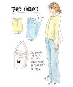 . 『食わず嫌い』ならぬ『着ず嫌い』を克服すべく、自分には似合わないと決めつけていた色味の服にもチャレンジしてみようかと思うちょります。 今日はユニクロのイエローカーデと古着のワイドデニムを合わせたシンプルカジュアルで☆ 苦手だったイエローも、淡い色味なら全然いける! 気がした( ˙͈̑꒳˙͈̑ ) . イラストの人は妄想女子です。 . #ファッションイラスト#イラストレーション#手描き#アナログ#コピック#コーディネート#大人カジュアル#シンプルコーデ#カーディガン#ユニクロ#uniqlo#ワイドデニム#古着#greenwood#トートバッグ#portcanvas#unitedarrows#スニーカー#コンバース#converse#まとめ髪#madeinusa#ootd#drawing#fashionillustration