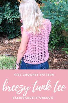 Crochet Tank Tops, Crochet T Shirts, Knit Tops, Crochet Gifts, Crochet Clothes, Beginner Crochet, Crochet Patterns For Beginners, Free Crochet, Knit Crochet