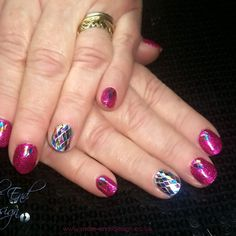 Gel polish over natural nails of an ex nail biter. Individual rhombus glitter covering ring fingers ready for Alison's cruise to St Petersburg #nailbiter #glitter  #celebrationcruises #gelpolish