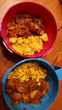 Breakfast scramble with soyrizo, potatoes and onions